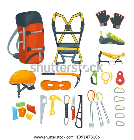 Climbing equipment, vector icons and design elements set. Mountaineering extreme sport gears and accessories, cartoon style illustration.
