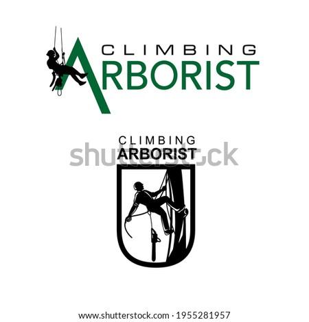 Climbing Mountain Arborist Vector Logo Design Stock photo ©