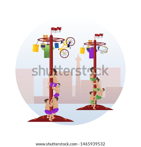 Climbing slippery pole, event ceremony for Indonesia's independence day
