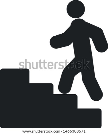 Climbing stairs icon. Man climbing stairs. Stairs icon.