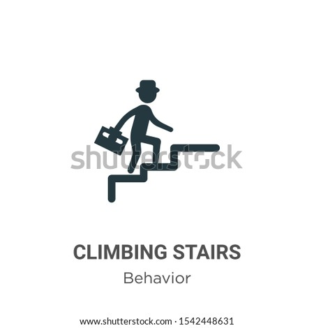Climbing stairs vector icon on white background. Flat vector climbing stairs icon symbol sign from modern behavior collection for mobile concept and web apps design.