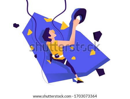 Climbing training wall with grips and holds. man climbing drawing. Stylized climbing wall isolated on a white background. Sports bouldering. Graphic Design Climb Editable. Vector illustration