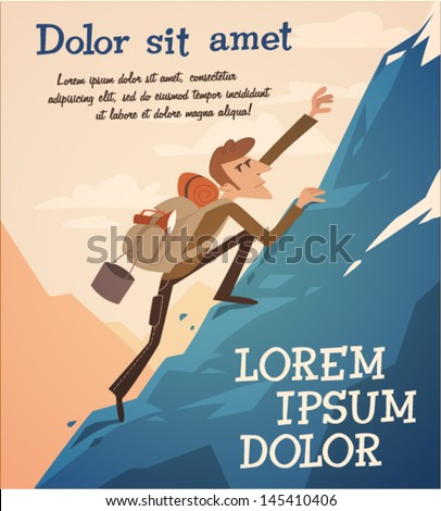 Climbing up the hill Vector retro styled illustration