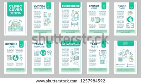 Clinic brochure template layout. Medicine and healthcare. Flyer, booklet, leaflet print design with linear illustrations. Vector page layouts for magazines, annual reports, advertising posters