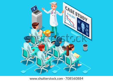 Clinic medical research trial isometric people meeting or doctor training day hospital health infograph 3D flat cartoon character hero people vector illustration images.