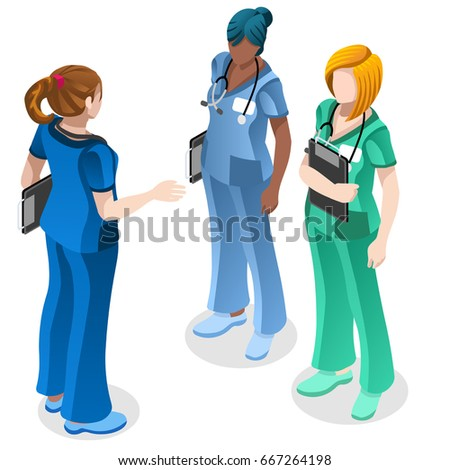 Clinic nurse education training meeting situation with group of doctor and nurses talking together. Healthcare hospital medical team flat vector isometric people illustration