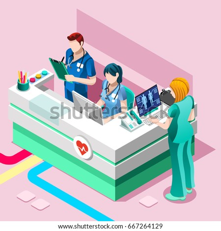 Clinic nurse station hospital team education training meeting situation with group of doctor and nurses talking together. Healthcare medical team flat vector isometric people illustration