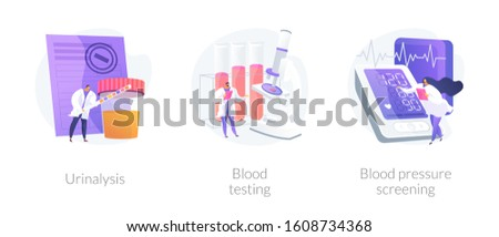 Clinical laboratory analysis icons cartoon set. Health examination. Biological markers. Urinalysis, blood testing, blood pressure screening metaphors. Vector isolated concept metaphor illustrations.