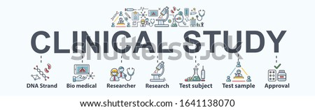 Clinical study banner web icon for medical research, clinical trial, bio medical, research, test subject and sample and drug approval. Minimal vector infographic.