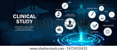 Clinical Study Concept banner with keywords and icons and 3D body hologram. Healthcare modern examination of human health and proper treatment. Full support. Vector illustration, Medical concept