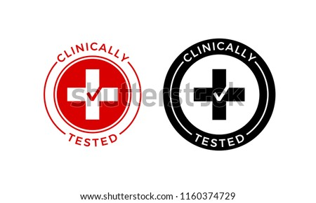 Clinically tested label or skincare cosmetic medical approved stamp. Vector red cross and check mark for product package clinic test stamp design