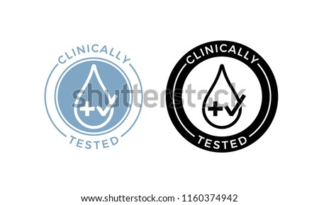 Clinically tested label. Vector medical or pharmaceutical health safe product package icon of water drop and cross with approved check mark stamp