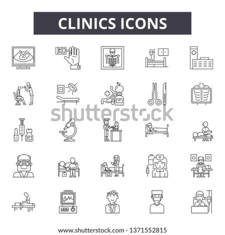 Clinics line icons, signs set, vector. Clinics outline concept, illustration: clinic,medical,medicine,care,health,hospital,doctor