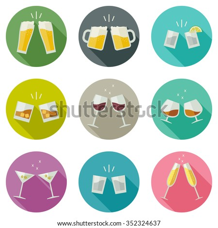 clink glasses icons glasses