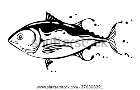 clip art black tuna on white
