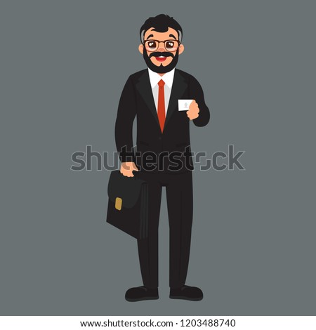 clip art business man wearing glasses, with a credit card and a bag, cartoon design, vector illustration (male set 1/10)