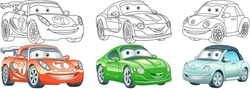 Clip art cars. Transport set for kids activity coloring book, t shirt print, icon, logo, label, patch or sticker. Vector illustration.