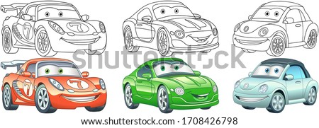 Clip art cars. Transport set for kids activity coloring book, t shirt print, icon, logo, label, patch or sticker. Vector illustration. ストックフォト ©
