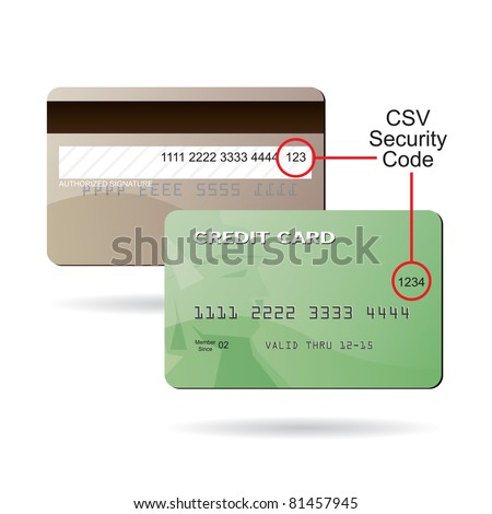 clip art diagram of where the csv security code is located