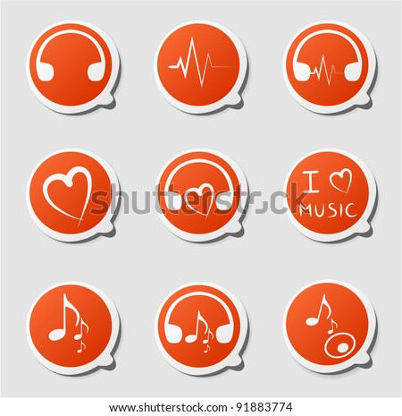 Clip-art from orange labels on a music theme