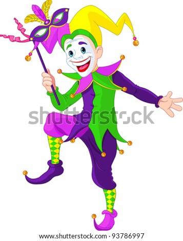 Clip art illustration of a cartoon Mardi Gras jester holding a mask