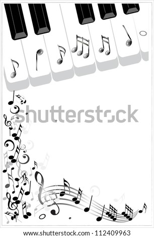 Clip Art Illustration of a music background with piano keys and music notes. Various sheet music musical notes