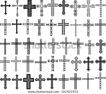 clip art illustration of crosses with ornaments
