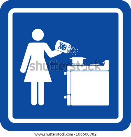 Clip art illustration styled like a universal sign showing a woman adding poison to her cooking.