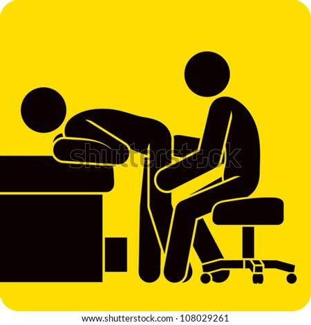 Clip art illustration styled like universal signs showing a stick figure man in a doctor's office receiving a rectal examination.