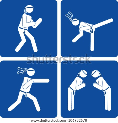 Clip art illustration styled like universal signs showing a stick figure man performing karate moves.
