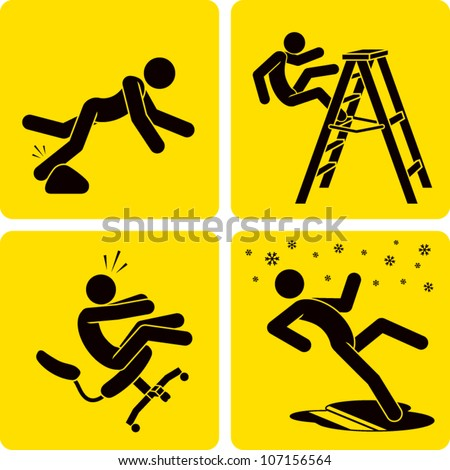 Clip art illustration styled like universal signs showing a stick figure man suffering various forms of trips, slips, and falls.