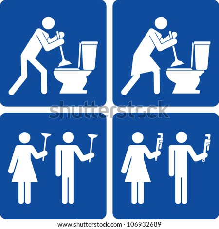 Clip art illustration styled like universal signs showing stick figure people making plumbing repairs.