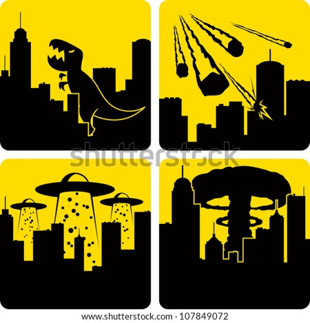 Clip art illustration styled like universal signs showing various disasters in a large city. Includes Godzilla attack, meteors, mass alien abduction, and nuclear strike.