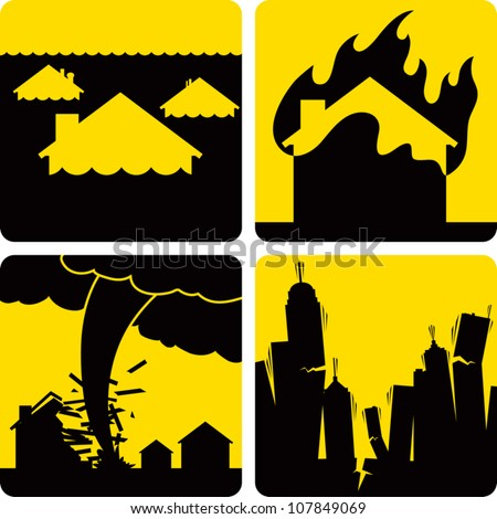 Clip art illustration styled like universal signs showing various natural disasters. Includes flood, fire, tornado, and earthquake.