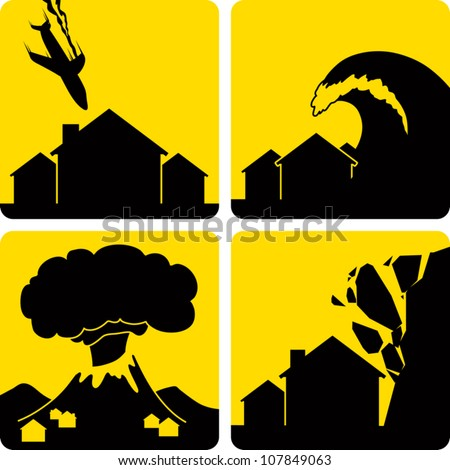 Clip art illustration styled like universal signs showing various natural disasters. Includes plane crash in a residential area, tsunami, volcanic eruption, and rock fall.