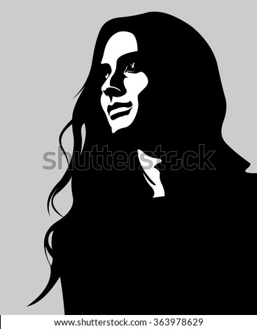Stock Photo Clip art low key portrait of pensive long hair woman looking up. Easy editable layered vector illustration.