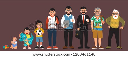 clip art men's stages of development set, cartoon design, generation stages, vector illustration, (set 2/2), big black eyes, black hair, Asian, Arab, Latino, Caucasian