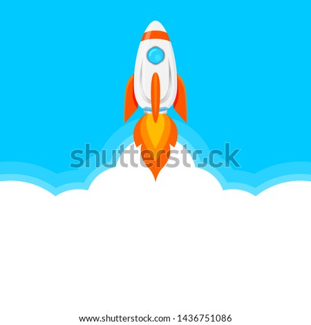 clip art rocket ship on blue and white copy space, rocket science flying in space, illustration rockets, rockets symbol for goals and achievements, rocket launch logo icon for infographics innovation