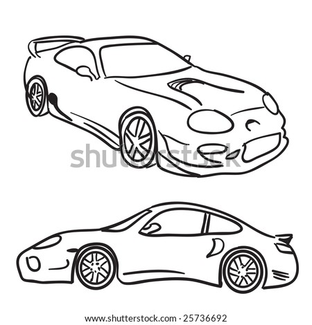 Black White Clip  Auto Racing on Stock Vector   Clip Art Sports Car Drawings Isolated Over White In