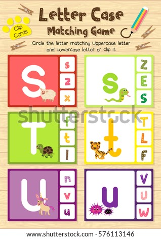 stock-vector-clip-cards-matching-game-of-letter-case-s-t-u-for-preschool-kids-activity-worksheet-in-animals