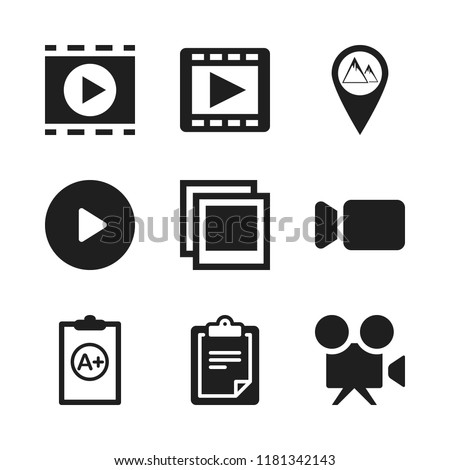 clip icon. 9 clip vector icons set. clipboard with a, clipboard and mountains pin icons for web and design about clip theme