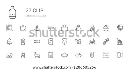 clip icons set. Collection of clip with sharpener, pie, bell, clipboard, donkey, reading, stapler, mars rover, dog, pushpin, paper clip, tire. Editable and scalable icons.