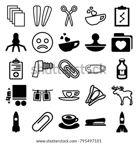 Clip icons. set of 25 editable filled and outline clip icons such as clipboard with chart, milk, rocket, folder with heart, cup with heart, medical clipboard, stapler, stamp