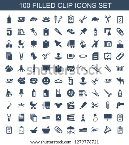 clip icons. Trendy 100 clip icons. Contain icons such as clipboard, stapler, scissors, table under umbrella, bowl, clipboard with chart, board, hair barrette. clip icon for web and mobile.