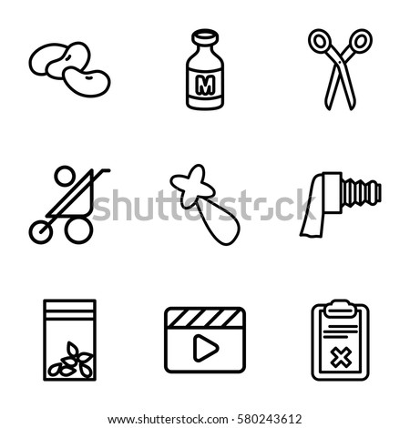 clip vector icons set of 9