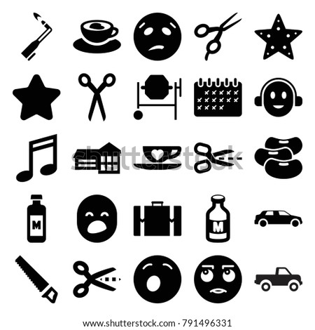 Clipart icons. set of 25 editable filled clipart icons such as barber scissors, star, concrete mixer, scissors, school, rolling eyes emot, yawn emot, sweating emot, music note