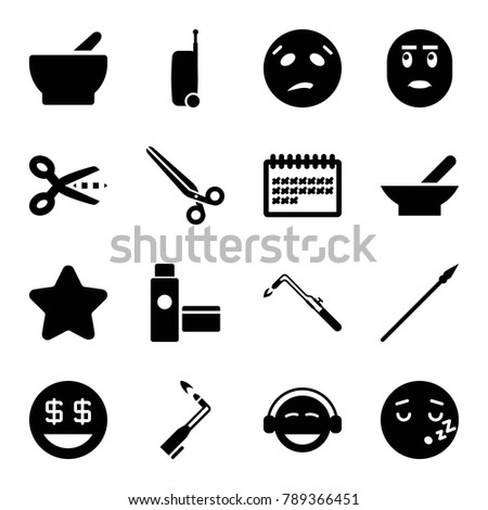 Clipart icons. set of 16 editable filled clipart icons such as bowl, star, blowtorch, scissors, sweating emot, emoji, dollar smiley, sleeping emot, calendar, cream tube