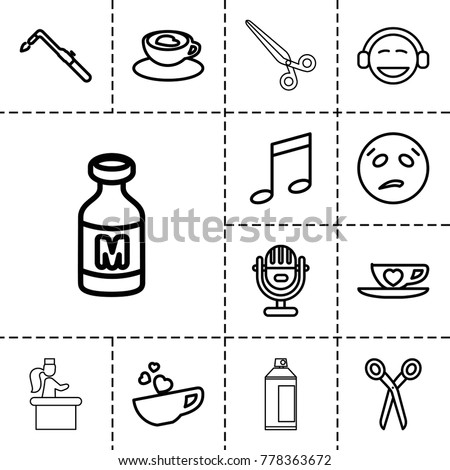 Clipart icons. set of 13 editable outline clipart icons such as barber scissors, blowtorch, sweating emot, emoji, music note, milk, cup with heart, microphone, airport desk