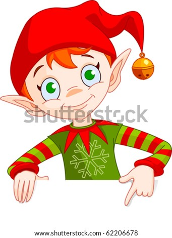 Clipart Illustration of a Christmas Elf Holding And Pointing Down To A Blank White Sign