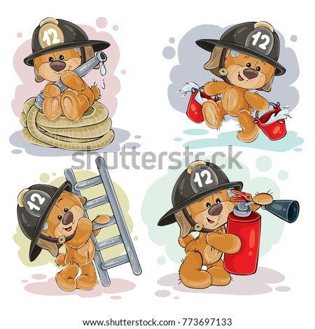 stock-vector-clipart-illustration-of-a-teddy-bear-firefighter-with-rescue-equipment-hose-fire-extinguisher